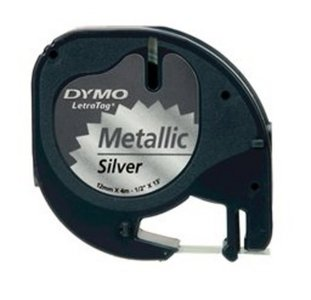 91208 Dymo Letratag tape 12mm Metallic Zilver